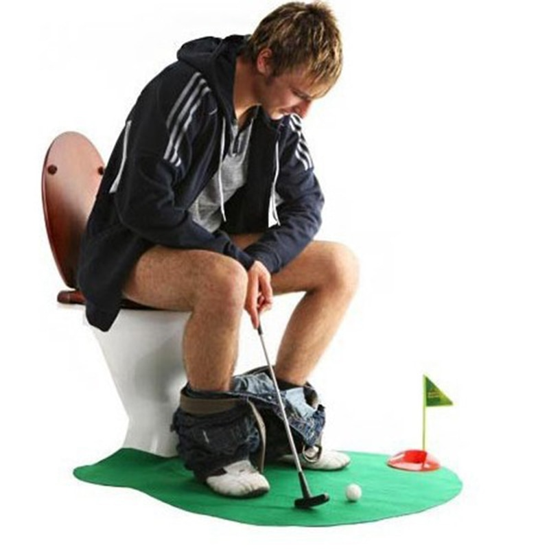 [해외]Toilet Golf Putter Set Bathroom Game Mini Golf Set Golf Putting Novelty Set - Play Golf in the Toilet Bathroom Accessories Sets/Toilet Golf Putter