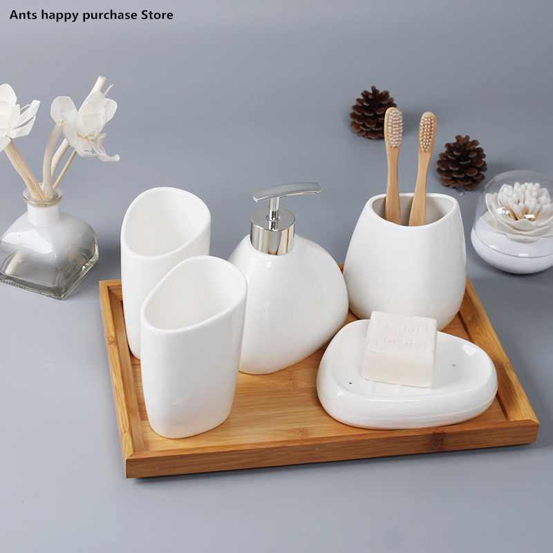 [해외]ceramics Bathroom Accessories Set Soap Dispenser/Toothbrush Holder/Tumbler/Soap Dish Cotton swab Aromatherapy Bathroom Products/ceramics Bathroom