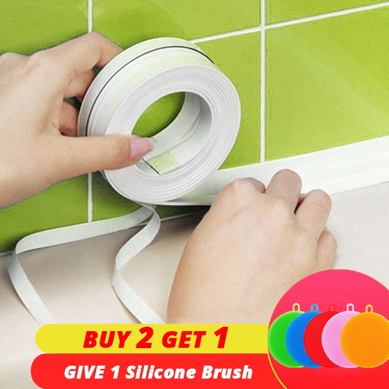 [해외]PVC Adhesive Tape Durable Use 1 ROLL Kitchen Bathroom Wall Sealing Tape Gadgets Waterproof Mold Proof 3.2mx3.8cm/2.2cm/PVC Adhesive Tape Durable U