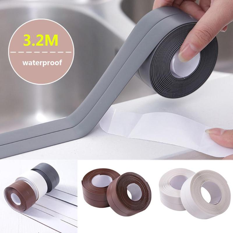 [해외]Self Adhesive Kitchen Waterproof Mildew Proof Adhesive Tape Bathroom Toilet Wall Corner Line Sink Sealing Sticker 3.2mx3.8/3.2cm/Self Adhesive Kit