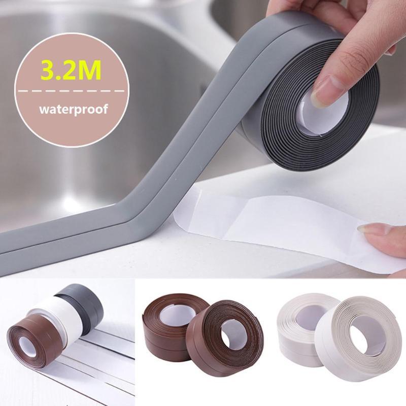 [해외]Self Adhesive Kitchen Waterproof Mildew Proof Adhesive Tape Bathroom Toilet Wall Corner Line Sink Sealing Sticker 3.2mx3.8/3.2cm/Self Adhesive Kit