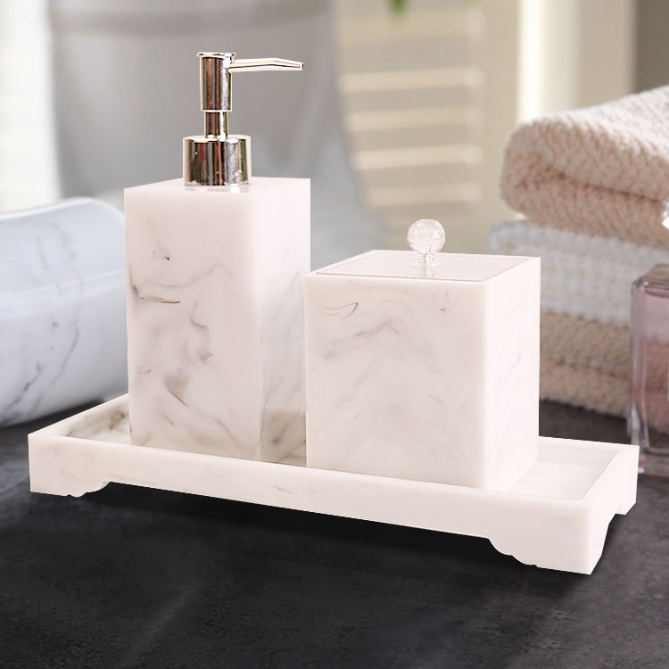 [해외]Four-piece Set Nordic Marble Texture Resin Brushing Cup Lotion Bottle Tray Bathroom Supplies Accessories Toothbrush holder/Four-piece Set Nordic M