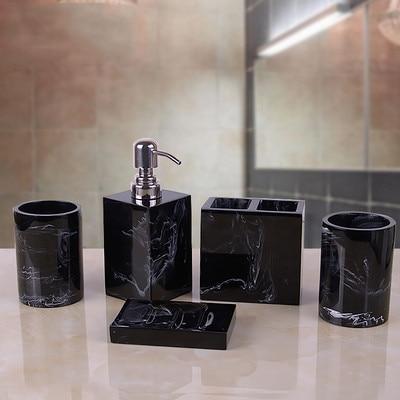 [해외]Marble Texture Resin Bathroom Five-piece European Creative Wash Set Soap Box Toothbrush Holder Lotion Bottle Tray Bathroom Suppl/Marble Texture Re