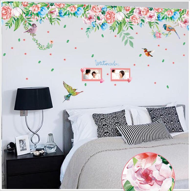 [해외] New Arrival Large Size 170*55cm Flower Bird Love Photo Vinyl Wall Stickers For Bedroom Living Room Home Decor Decals/ New Arrival Large Size 170*