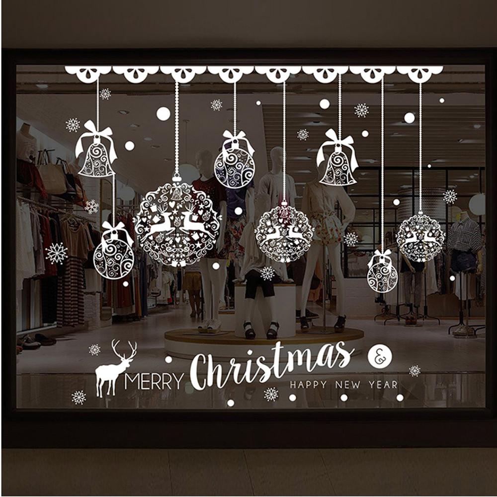 [해외]Merry Christmas Shop Window Wall  Removable Stickers Christmas Bell Deer muurstickers home room pegatinas paredes decoracion XT/Merry Christmas Sh