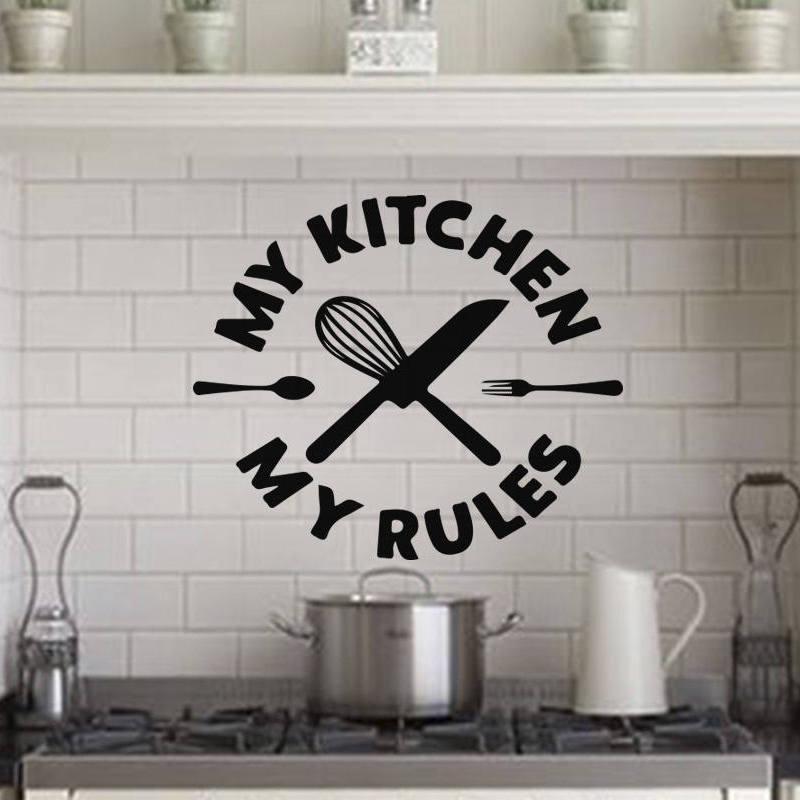[해외]My Kitchen My Rules Creative Quote Vinyl Wall Stickers Home decoration Removable Art Decals/My Kitchen My Rules Creative Quote Vinyl Wall Stickers
