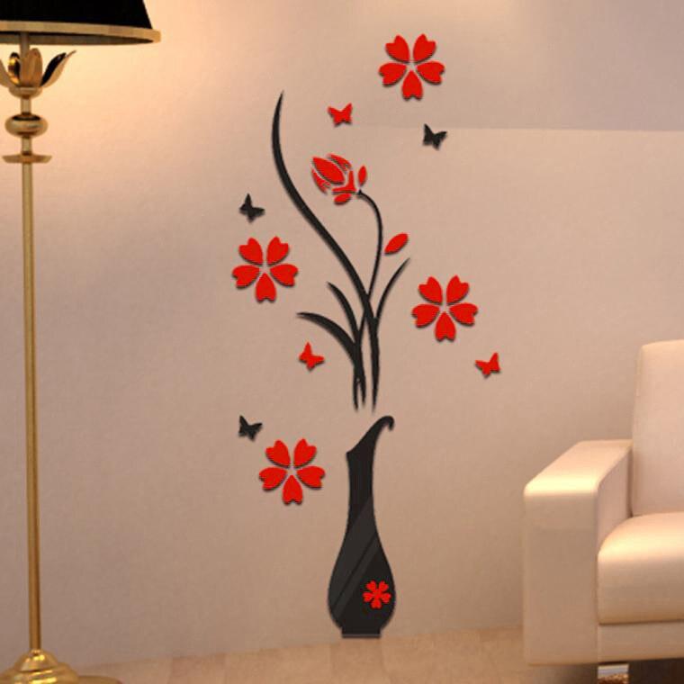 [해외]Top Grand DIY Vase Retro Home Room TV Decor Vase Plum Flower Tree Crystal Acrylic 3D Wall Sticker 80CM 15/Top Grand DIY Vase Retro Home Room TV De