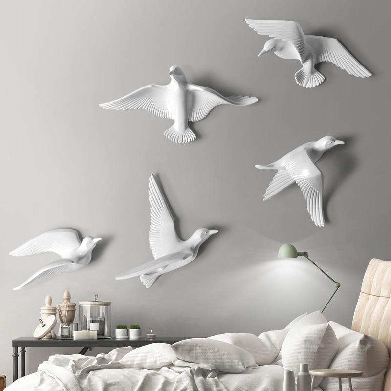 [해외]5PCS Europe Wall Hanging Resin Bird Wall 3D Stereo Sticker Livingroom TV Background Wall Mural Decoration Crafts Wall Ornaments/5PCS Europe Wall H