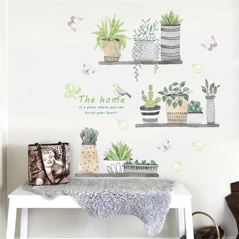 [해외]Creative Garden Plant Bonsai Butterfly Flower Wall Decals Bedroom Kitchen Home Decor Pvc Wall Decals Decorations Diy Mural Art/Creative Garden Pla