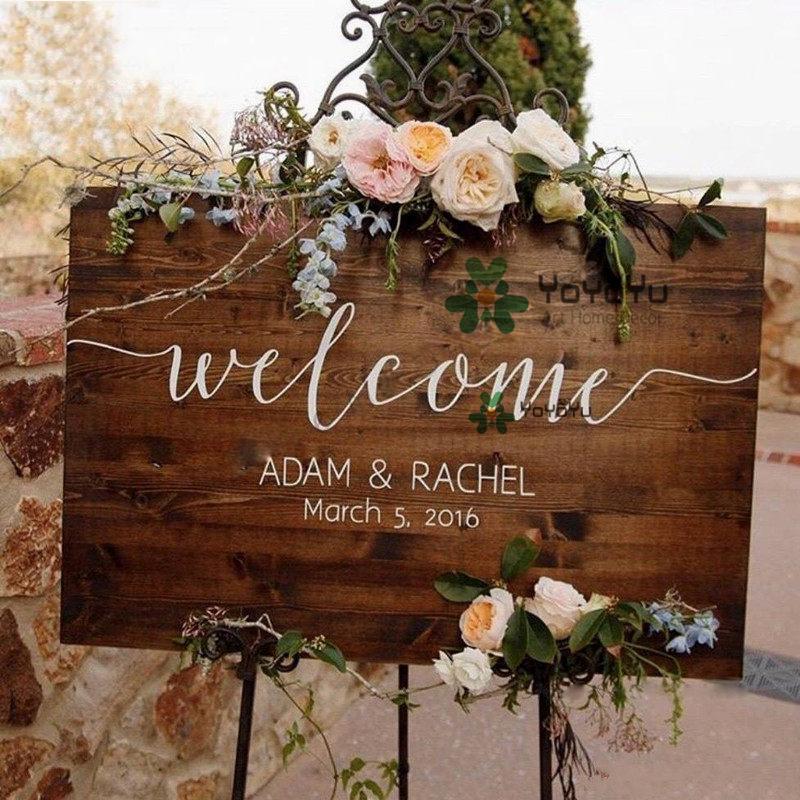 [해외]Wedding Decoration Welcome Sign Personalized Name Date Sticker Removable Vinyl Waterproof Decal Painted for Wedding DisplayZW409/Wedding Decoratio
