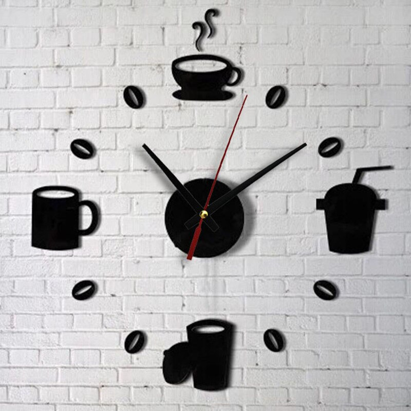 [해외]3D Coffee Wall Stickers Clock Art Living Room Bedroom Detachable Acrylic Mirror Wall Decoration Stickers Clock DIY Decoration/3D Coffee Wall Stick