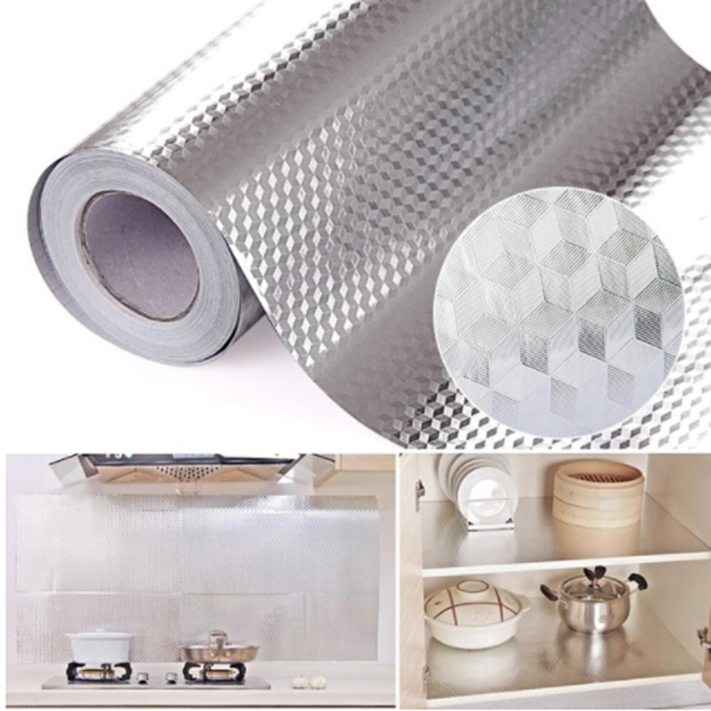 [해외]1PC Aluminum Foil Kitchen Oil Proof Sticker Waterproof Self Adhesive Cupboard Stove Cabinet Wall Sticker  2019/1PC Aluminum Foil Kitchen Oil Proof