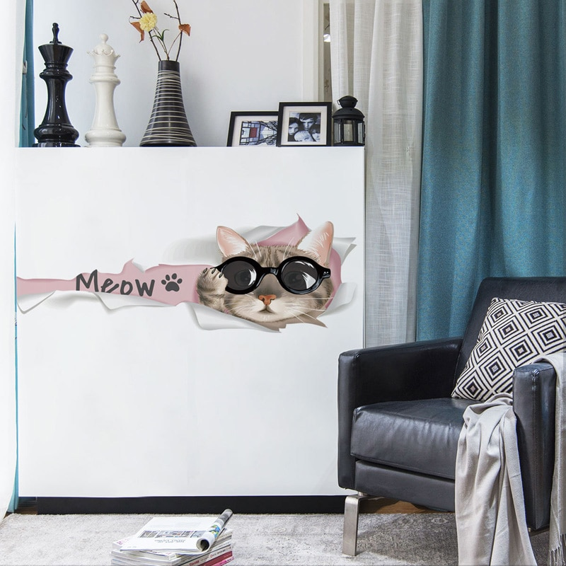 [해외]Cute Cartoon Meow cat wall sticker for living room Cabinet door home decoration mural art Decals wallpaper door wall stickers/Cute Cartoon Meow ca