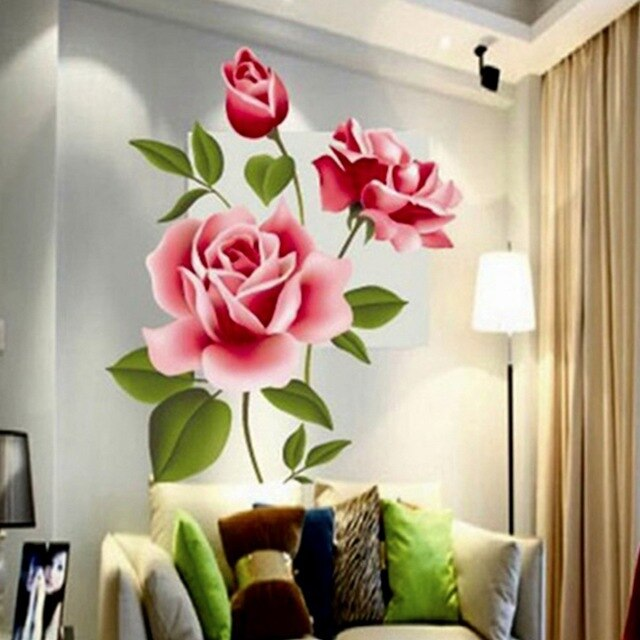 [해외]Romantic Rose Flower Wall Decals Home Decor Living Room Bedroom Flower Shop 3D Effect Pvc Stickers Mothers Day Gift/Romantic Rose Flower