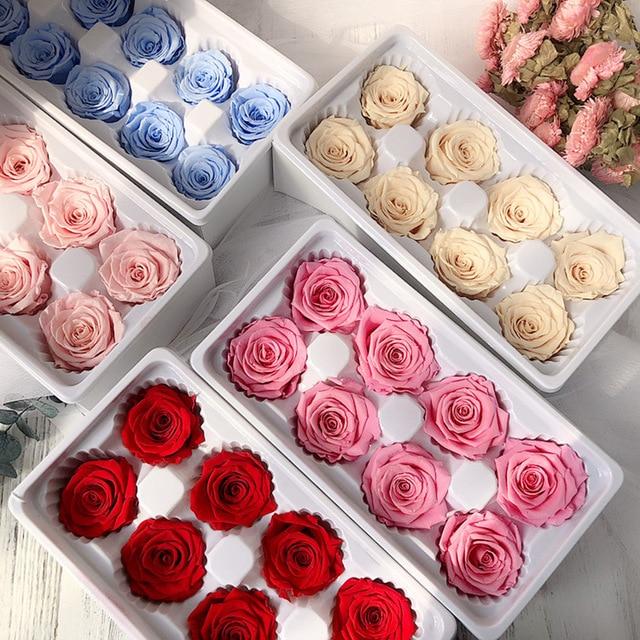 [해외]Preserved Rose Flowers Immortal Rose 4-5CM Diameter Mothers Day DIY Wedding Eternal Life Flower Material Gift  8pcs/Box Level B/Preserve