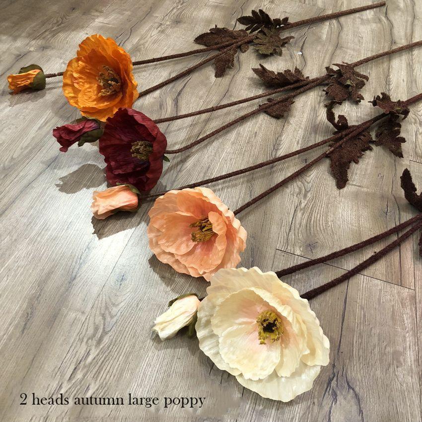 [해외]3 개/몫 시뮬레이션 양귀비 2 머리 큰 양귀비 식물 가짜 꽃 벽 웨딩 장식 실크 꽃 장식 홈 정원 장식/3 개/몫 시뮬레이션 양귀비 2 머리 큰 양귀비 식물 가짜 꽃 벽 웨딩 장식 실크 꽃 장식 홈 정원 장식