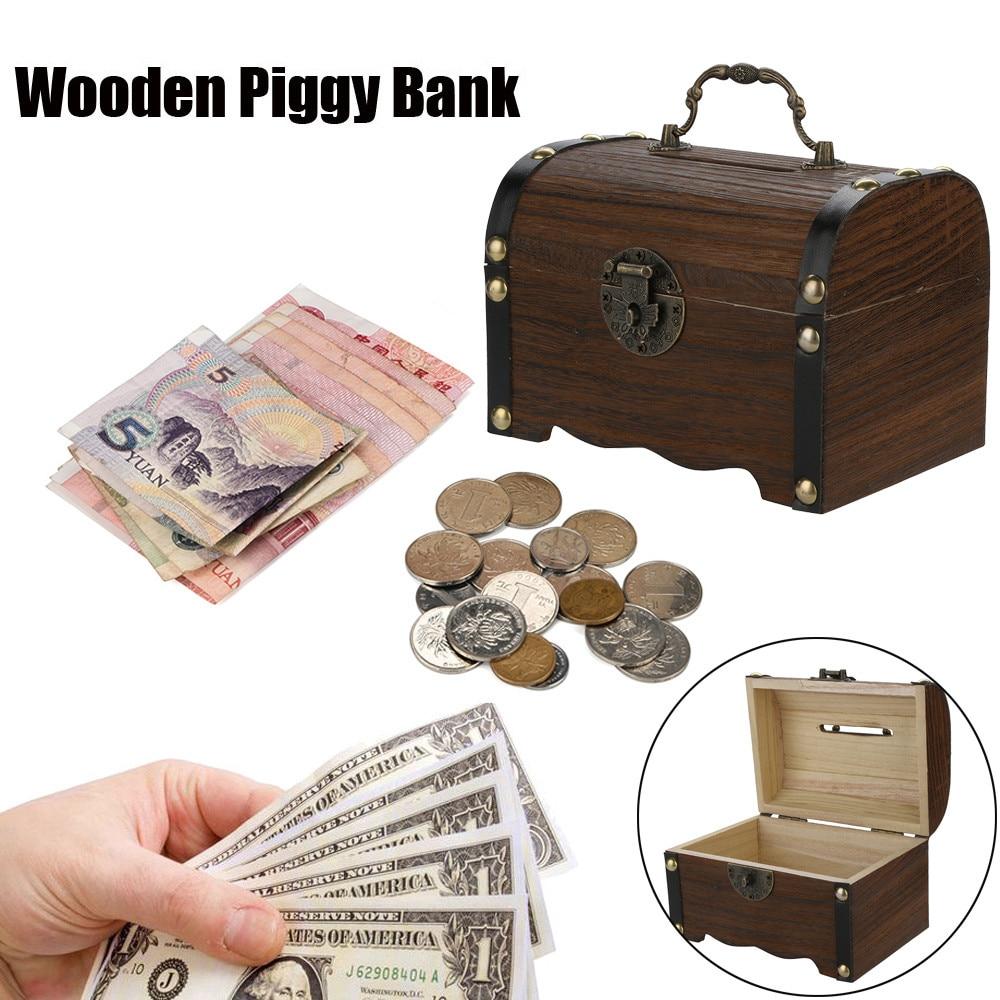 [해외] Wooden Piggy Bank Safe Money Box SavingsLock Wood Carving Handmade L0315/ Wooden Piggy Bank Safe Money Box SavingsLock Wood Carving Handmade L031