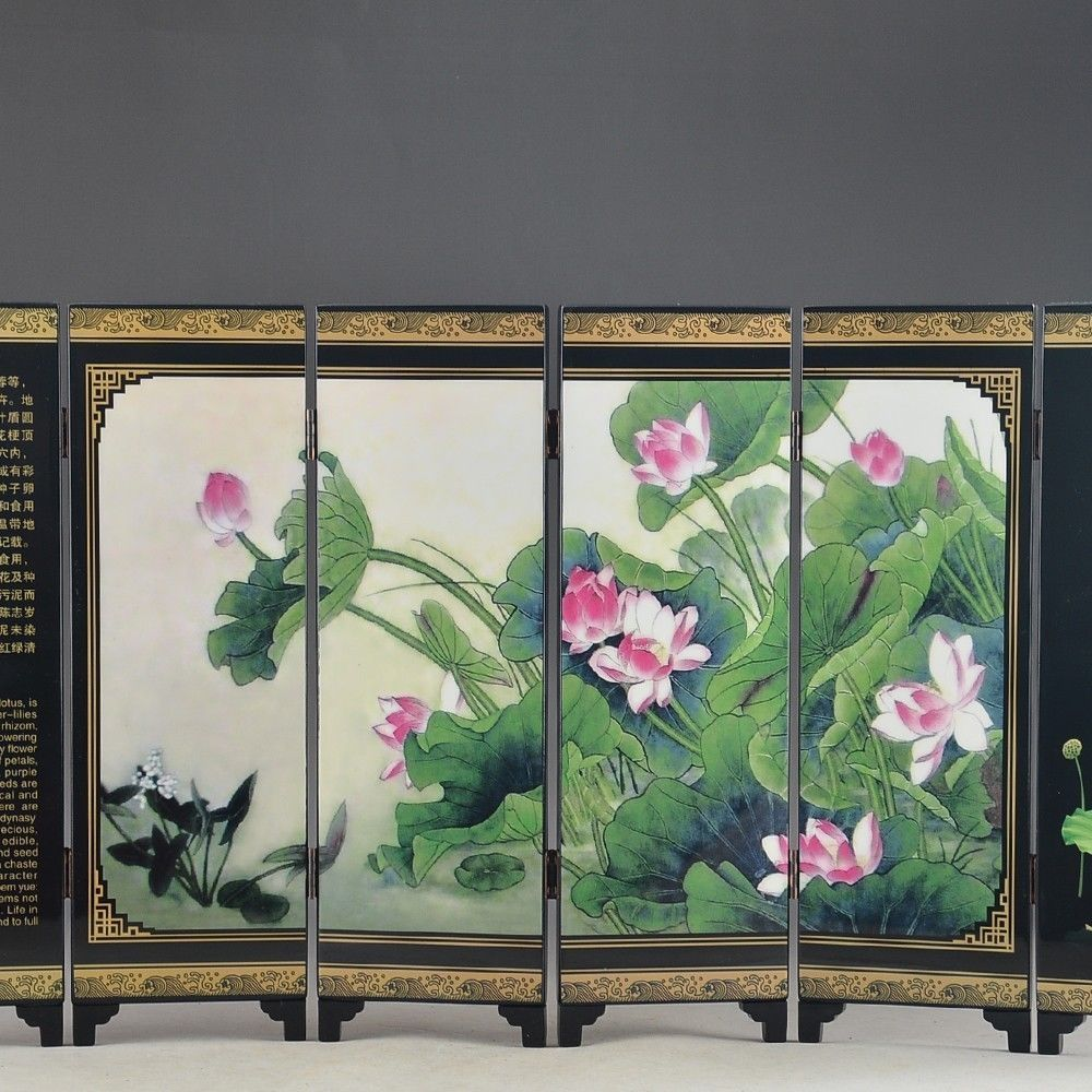 [해외]세부 아름 다운 중국어 옻 칠 세공 오래 된 크레인 로터스 그림 화면 장식 2/세부 아름 다운 중국어 옻 칠 세공 오래 된 크레인 로터스 그림 화면 장식 2