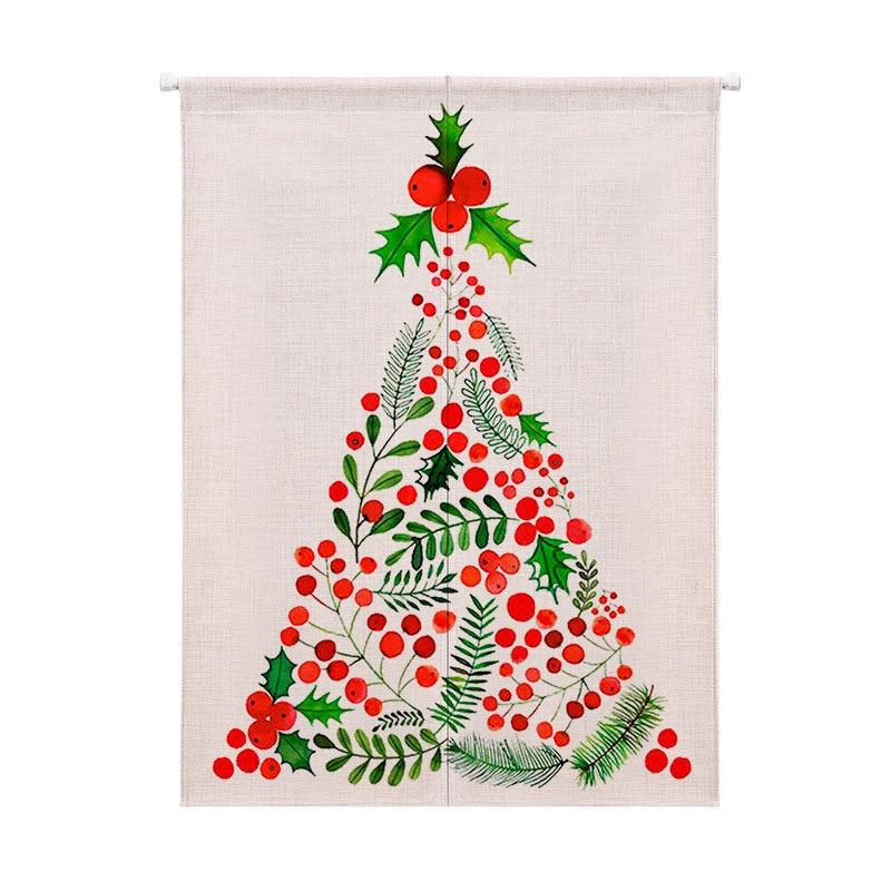 [해외]크리스마스 트리 패턴 커튼은 창 주방 캐비닛 문에 대한 두꺼운 코튼 반 커튼 커피 짧은 커튼/Christmas Tree Pattern Curtain Thickened Cotton Half Curtain Coffee Short Curtain for Window K