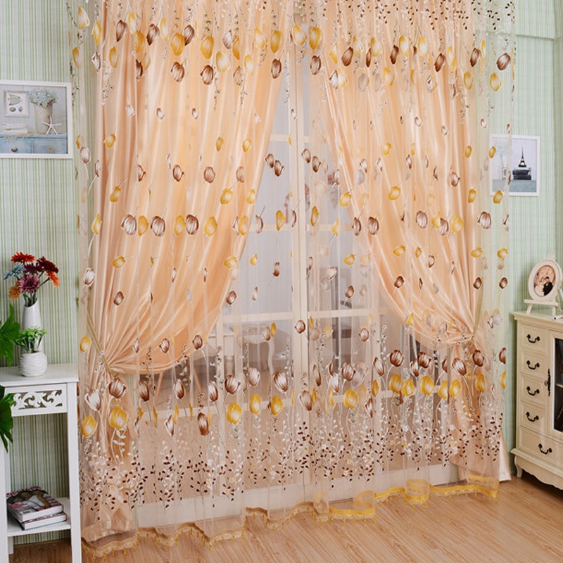 [해외]화려한 튤립 디자인 Tulle 커튼 Beaded 침실 거실 객실 디바이더 장식 된 절묘한 창 장식/Colorful Tulip Design Tulle CurtainsBeaded Bedroom Living Room Dividers Decorated Exquisite
