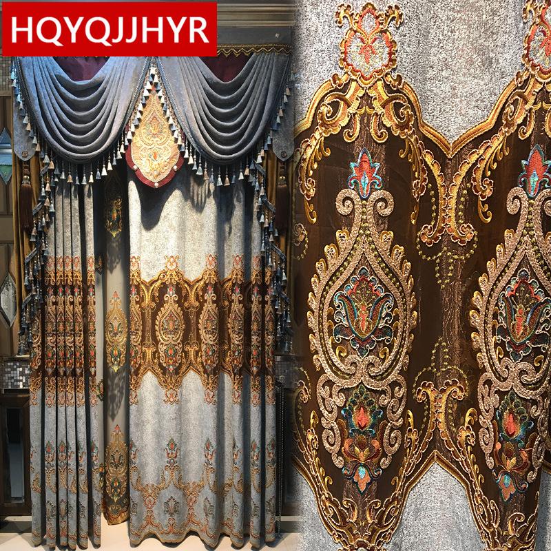[해외]Top European royal aristocratic luxury embroidery curtains for Living Room classic high-end custom curtains for Bedroom Windows/Top European royal