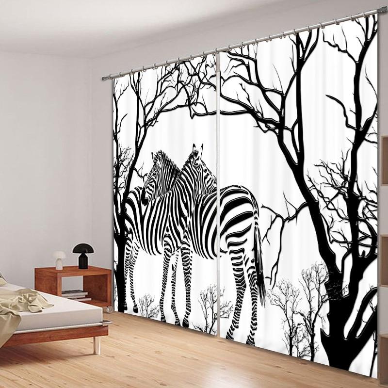 [해외]Black-and-white zebra print Luxury Blackout 3D Window Curtain Living Room Bedroom Drapes Cortinas Rideaux Customized pillowcase/Black-and-white ze