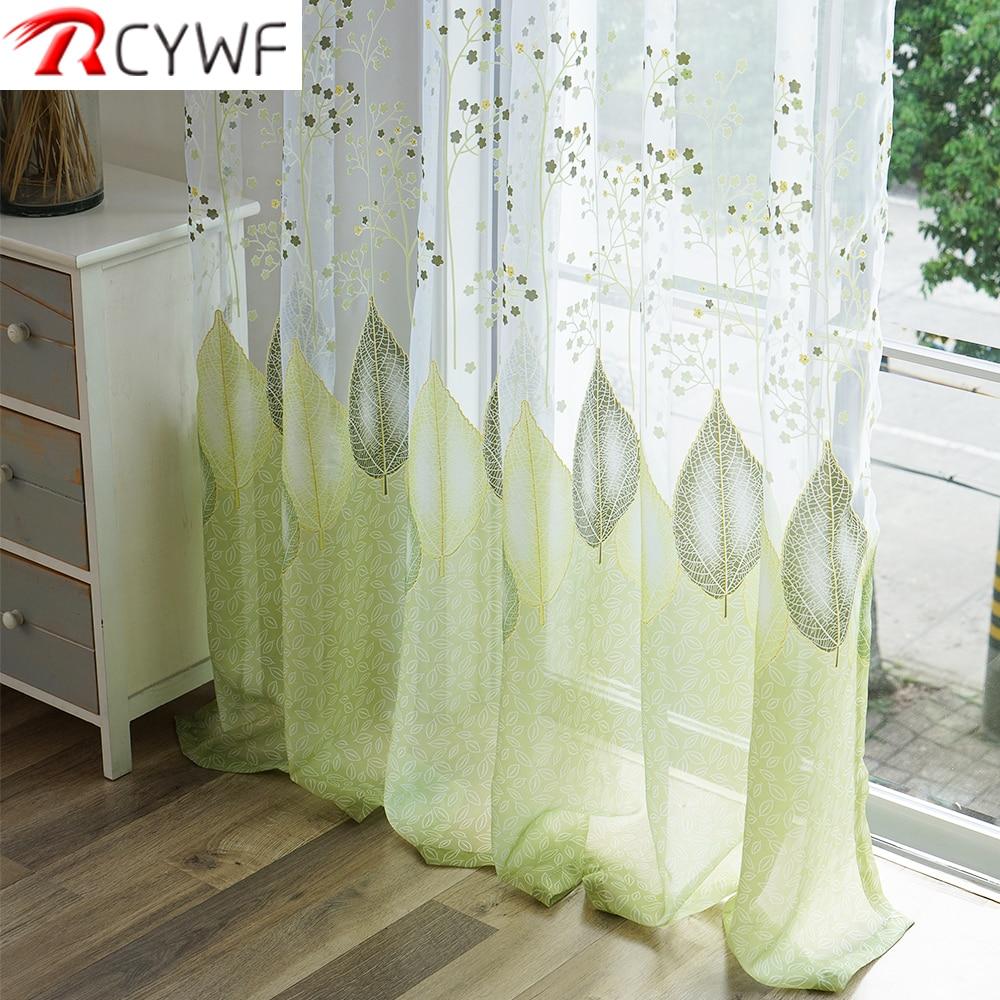 [해외]Sheer Tulle Window Curtains For Living Room The Bedroom The Kitchen Modern Tulle Curtains Green Leaves Fabric Blinds/Sheer Tulle Window Curtains F