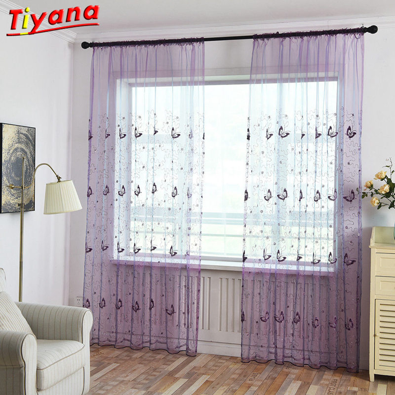 [해외]Shining Butterfly Embroidery Voile Curtains French Window Panel Bedroom Tulle Cortina Organza Fabric Gauze door livingroom 34430/Shining Butterfly