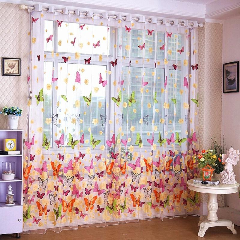 [해외]SaiDeng Cheap Butterfly Curtain Window Tulle Voile Sheer Panel Butterfly Curtain for kitchen living room stoffen Eaves 3D-30/SaiDeng Cheap Butterf