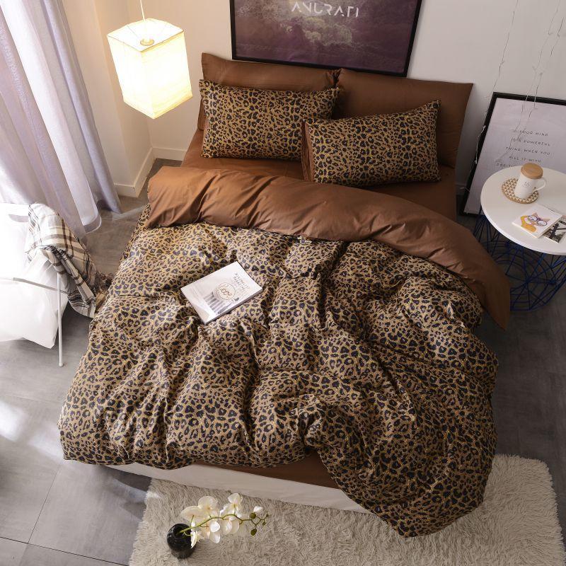 [해외]Brown leopard 100%Cotton Twin Bedding Set Queen King size Bed set Duvet Cover Bed sheet Fitted sheet ropa de cama parure de lit/Brown leopard 100%