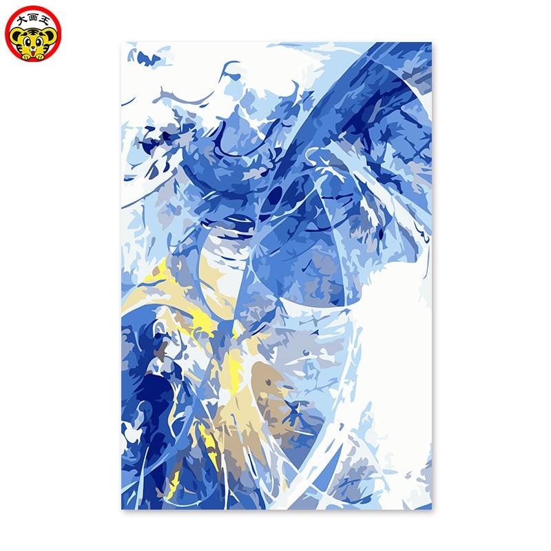 [해외]Diy digital oil painting by numbers drawing hand painted picture Wall Decor pictures blue and gold abstract picture /Diy digital oil painting by n