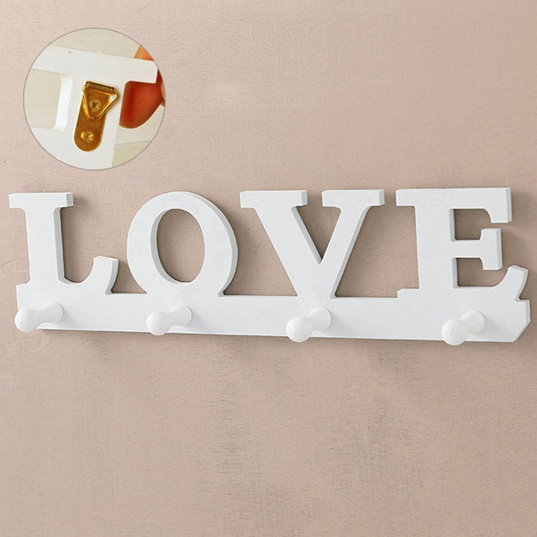 [해외]White Love Hat Keychain Clothes Bag Robe Hanging Screws Ledges Door Bathroom Retro Home Decor Hanger Keychain Wall Hook/White Love Hat Keychain Cl