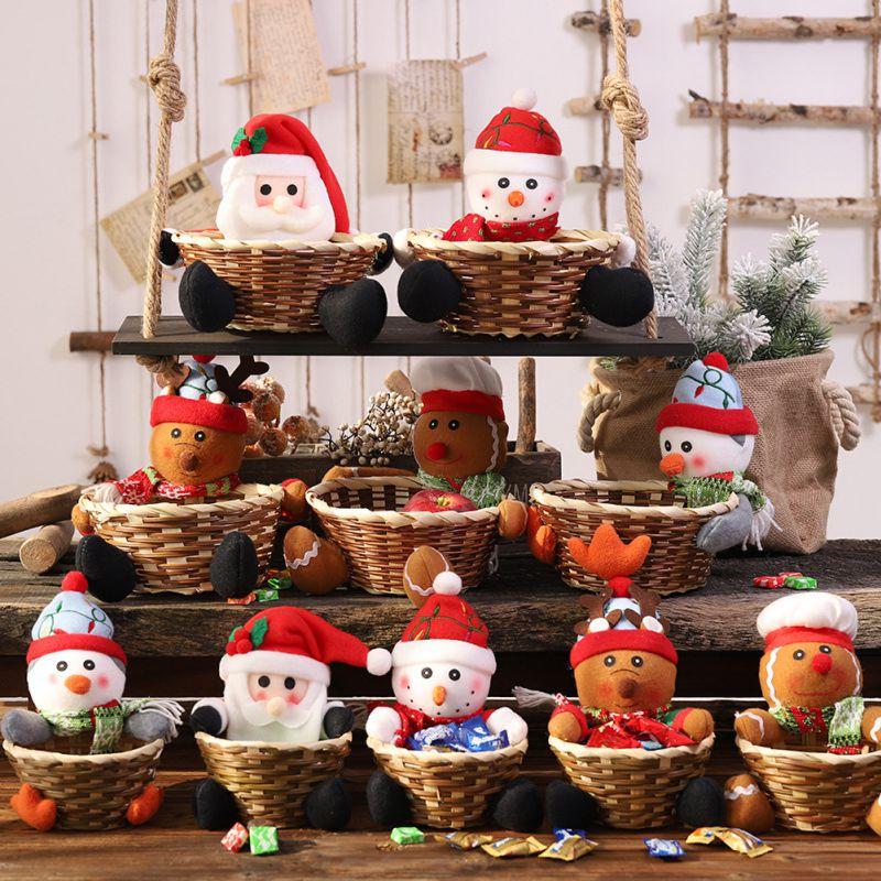 [해외]크리스마스 캔디 보관 바구니, 산타 클로스 보관 바구니 선물 장식 홈 페스티벌 1/크리스마스 캔디 보관 바구니, 산타 클로스 보관 바구니 선물 장식 홈 페스티벌 1