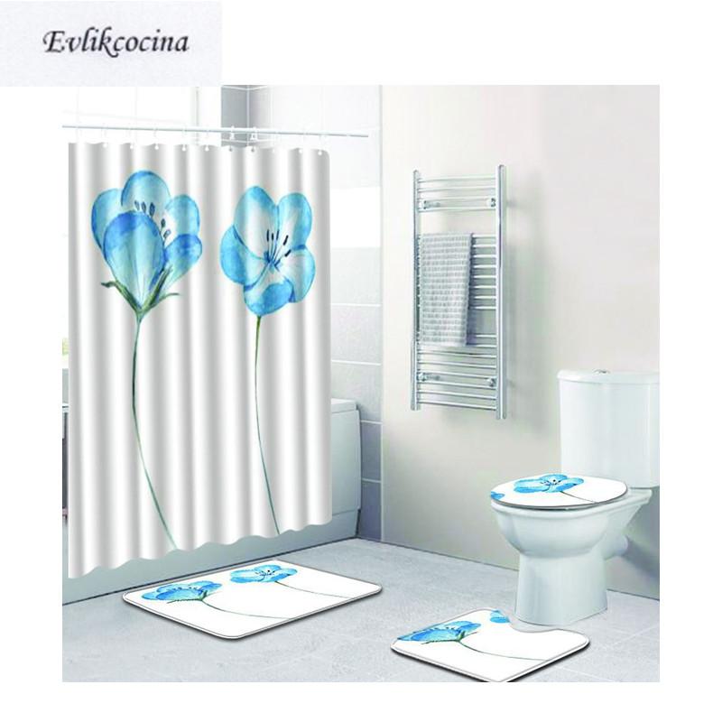 [해외]?4pcs 밝은 파란색 꽃 Banyo 욕실 카펫 화장실 목욕 매트 세트 Non Slip Pad Tapis Salle De Bain Alfombra Bano/ 4pcs Light Blue Flowers Banyo Bathroom Carpets Toilet Bath
