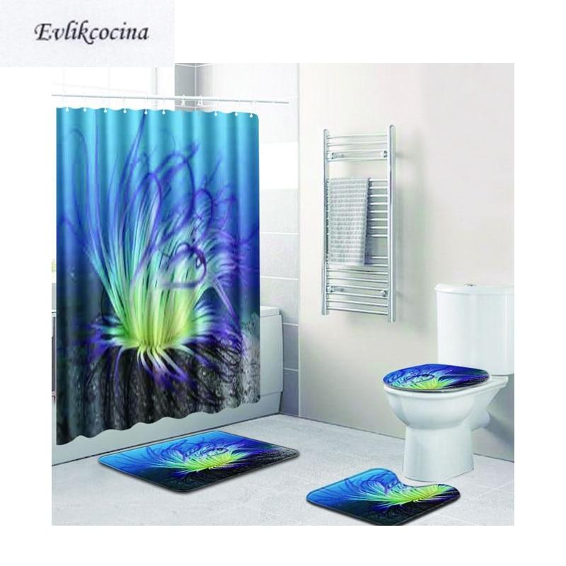 [해외]?4pcs 해초 Banyo 욕실 카펫 화장실 목욕 매트 세트 Non Slip Tapis Salle De Bain Alfombra 바노 Tapete Banheiro/ 4pcs Seaweed Banyo Bathroom Carpet Toilet Bath Mat Set