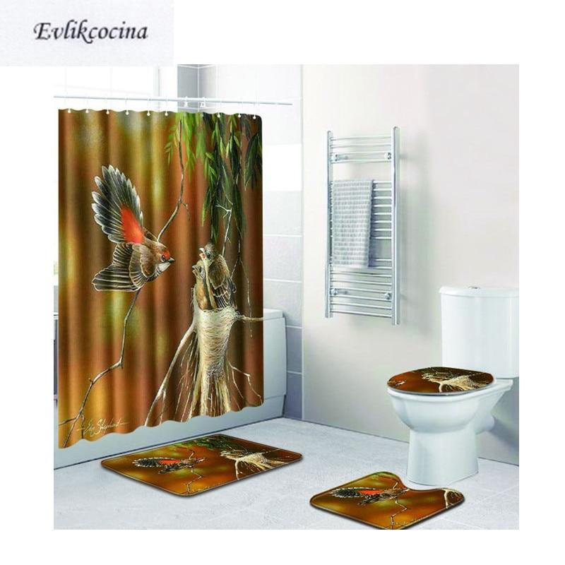[해외]?4pcs 새 엄마 아기 Banyo 욕실 카펫 화장실 목욕 매트 세트 Tapis Salle 드 베인 Alfombra Bano Tapete Banheiro/ 4pcs Bird Mom Babies Banyo Bathroom Carpet Toilet Bath Mats