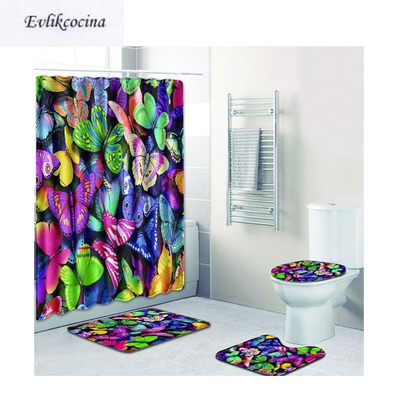 [해외]?4pcs 컬러 나비 Banyo Paspas 욕실 카펫 화장실 목욕 매트 세트 미끄럼 Tapis Salle 드 베인 Alfombra Bano/ 4pcs Colored Butterfly Banyo Paspas Bathroom Carpet Toilet Bath Ma