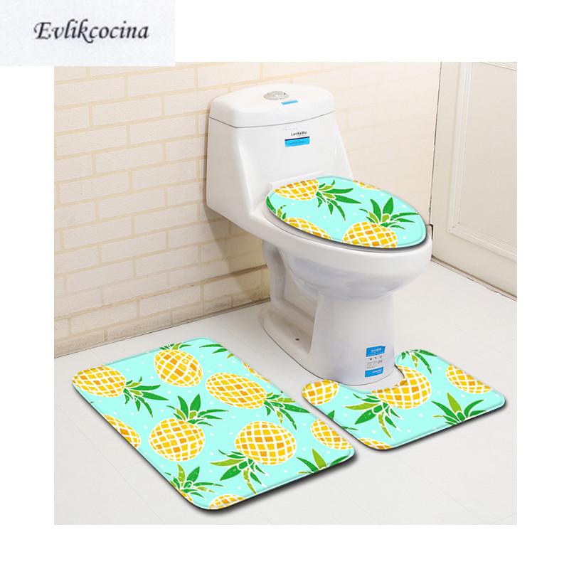 [해외]?3pcs Pinapple 시리즈 Banyo 욕실 카펫 화장실 U Type 목욕 매트 세트 Non Slip Tapis Salle De Bain Alfombra Bano/ 3pcs Pinapple Series Banyo Bathroom Carpet Toilet U