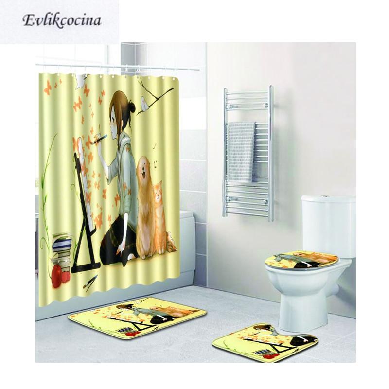 [해외]?4pcs 소녀 드로잉 욕실 카펫 화장실 매트 세트 Non Slip Tapis Salle De Bain Alfombra 바노 Tapete Banheiro/ 4pcs Girl Drawing Bathroom Carpet Toilet Bath Mat Set Non S