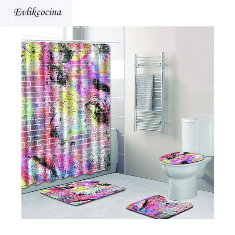 [해외]?4pcs 여자 얼굴 벽화 Banyo Paspas 욕실 카펫 화장실 목욕 매트 세트 Anti Slip Tapis Salle De Bain Alfombra Bano/ 4pcs Woman Face Mural Banyo Paspas Bathroom Carpet Toi