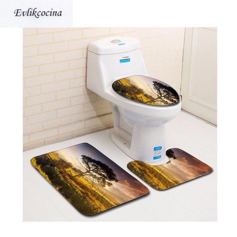 [해외]?3pcs 나이트 폴 트리 카사 데 반호 욕실 카펫 화장실 용 욕조 매트 세트 미끄럼 Tapis Salle De Bain Alfombra Bano/ 3Pcs Nightfall Tree Casa De Banho Bathroom Carpet Toilet Bath M