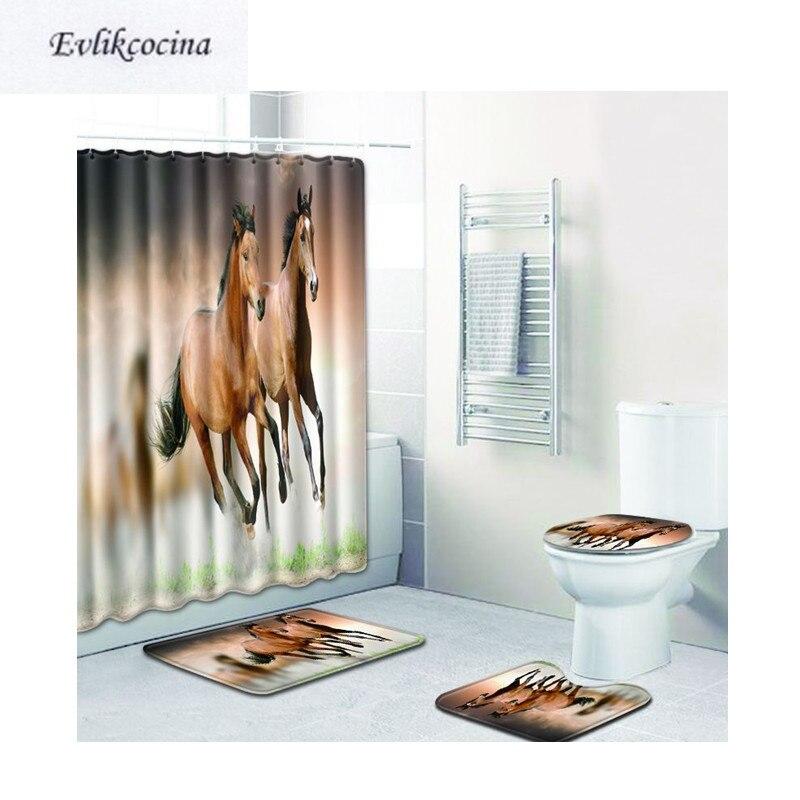 [해외] 4Pcs Coffee Horse Banyo Bath Mats Anti Slip Bathroom Mats Set Tapete Banheiro Washable Toilet Rugs Alfombra Bano/ 4Pcs Coffee Horse Banyo Bath Ma