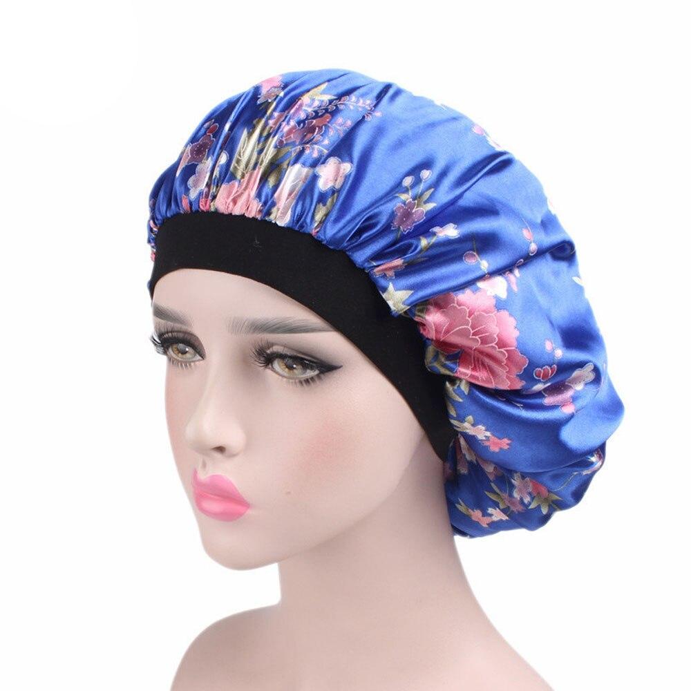[해외]Women`s Soft Silk Wide-brimmed Sleeping Hat Night Sleep Cap Hair Care Bonnet Nightcap For Women Men UniCap/Women`s Soft Silk Wide-brimmed Sleeping