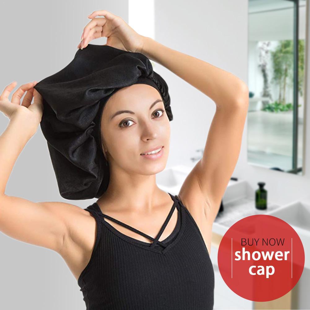 [해외]Super Bigger Elastic Band Sleep Cap Waterproof Shower Cap Female Hair Care Protect Hair Large Satin Silk Bonnet Relax Sleep Cap/Super Bigger Elast