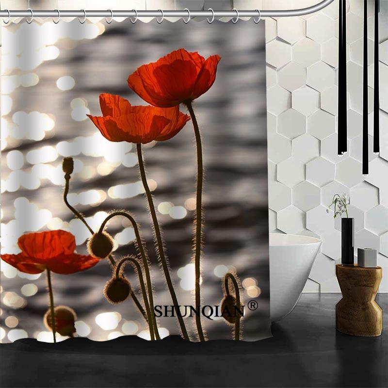 [해외]양귀비 꽃 양귀비 샤워 커튼 폴리 에스터 욕실 방수 목욕 커튼 크기 150x180cm165x200cm180x200cm