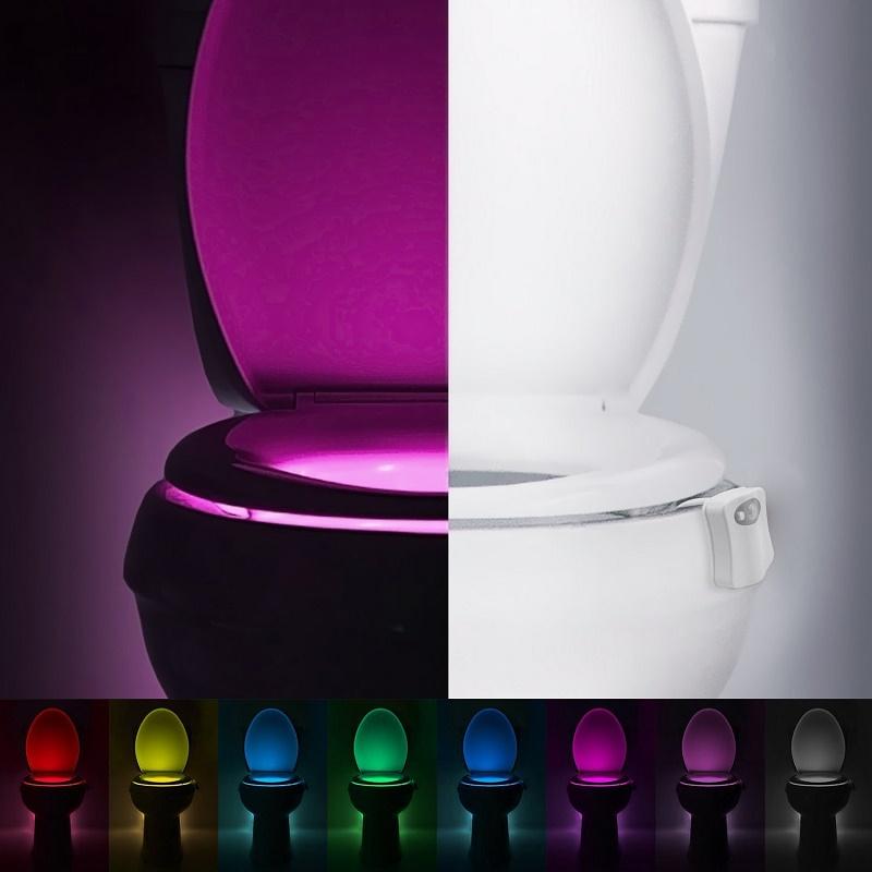 [해외]Bathroom Accessories Smart Toilet Nightlight LED Body Motion Activated On/Off Seat Sensor 8 Color Convenience Bathroom Gadget/Bathroom A