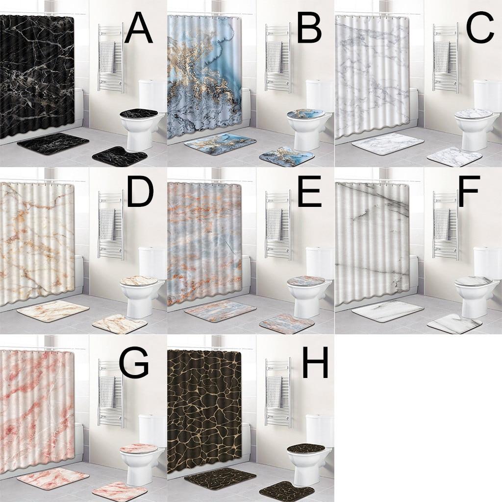 [해외]화장실 커버 좌석 4 pcs 바다 스타일 비 슬립 화장실 폴리 에스터 커버 매트 세트 욕실 액세서리 세트 샤워 커튼 홈 장식 t9 #