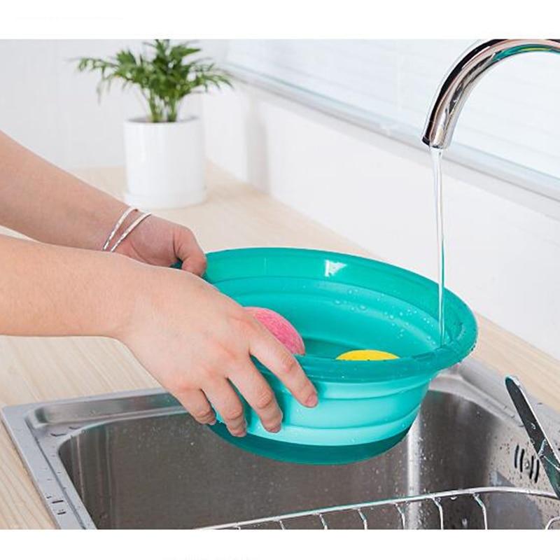 [해외]Folding Basin Kitchen Fruits Washing Basin Storage Kitchen Organizer Picnic Trip Bucket Washbasin Portable Water Bowl Washtub/Folding Basin Kitche