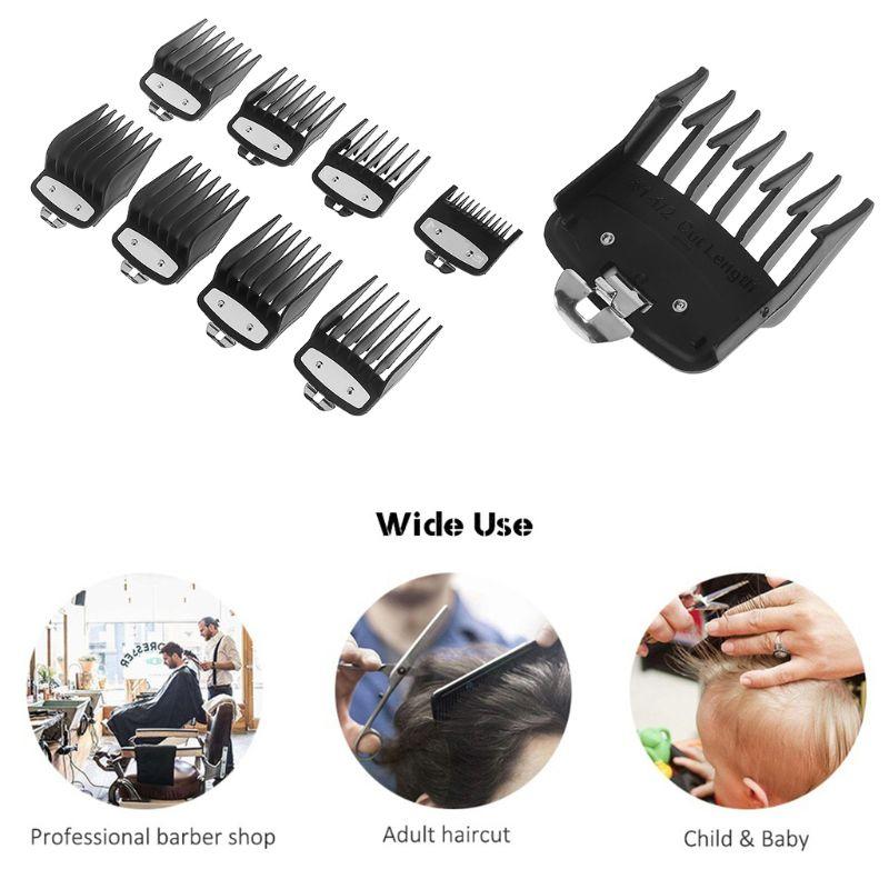 [해외]8PCS/SET Professional Cutting Guide Comb for Wahl Electric TrimmersMetal Clip 3171-500-1/8in to 1in Set Black Guide Comb/8PCS/SET Professional Cut