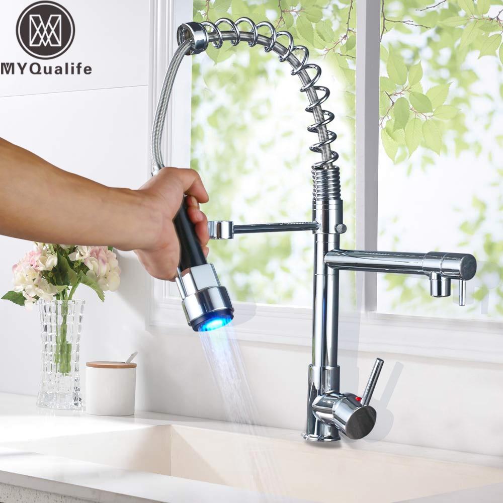 [해외]Chrome LED Light Kitchen Faucet Spring Pull Down Kitchen MixerHot Cold Water Single Handle Swivel Spout Handheld Head/Chrome LED Light Kitchen Fau